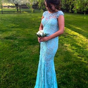 Sea foam blue prom dress